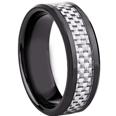 (Wholesale)Black Tungsten Carbide Carbon Fiber Ring-TG2288