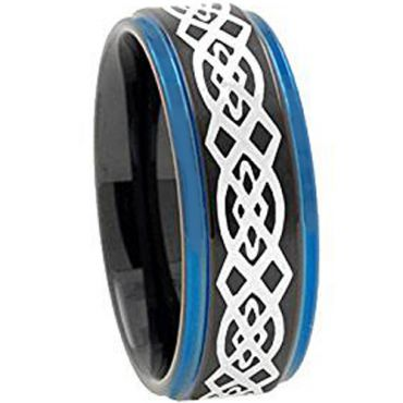 (Wholesale)Tungsten Carbide Black Blue Celtic Ring - TG2730AA