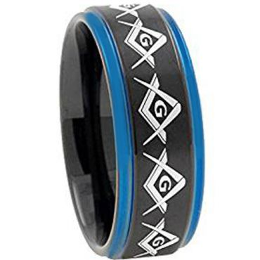 (Wholesale)Tungsten Carbide Black Blue Masonic Ring-2741AA