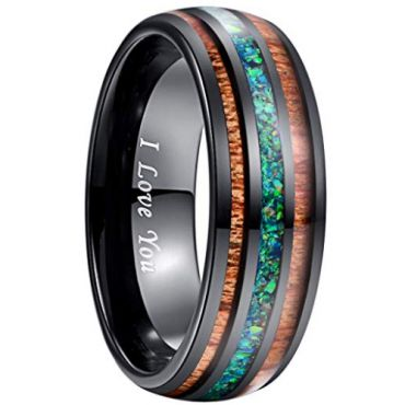 (Wholesale)Black Tungsten Carbide Imitate Opal Wood Ring-279