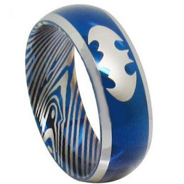 (Wholesale)Tungsten Carbide Batman Damascus Ring - TG3853AA