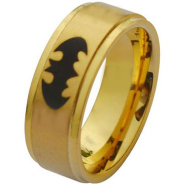 (Wholesale)Tungsten Carbide BatMan Step Edges Ring - TG2860