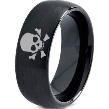 (Wholesale)Black Tungsten Carbide Skull Ring - TG2920
