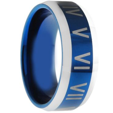 (Wholesale)Tungsten Carbide Ring With Roman Numerals - TG3006