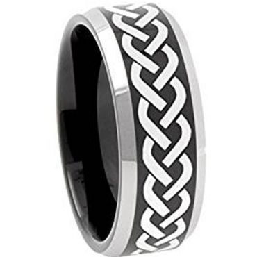 (Wholesale)Tungsten Carbide Celtic Beveled Edges Ring - 3086