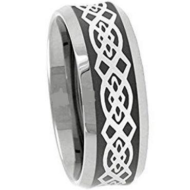 (Wholesale)Tungsten Carbide Celtic Beveled Edges Ring - 3090