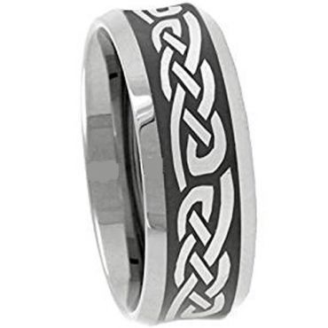 (Wholesale)Tungsten Carbide Celtic Beveled Edges Ring - 3094