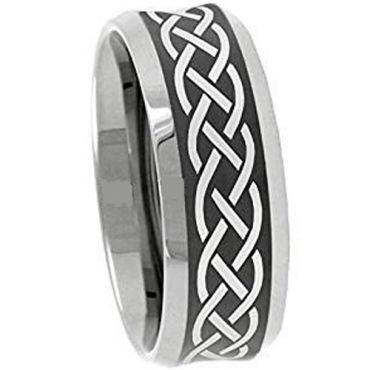 (Wholesale)Tungsten Carbide Celtic Beveled Edges Ring - 3110