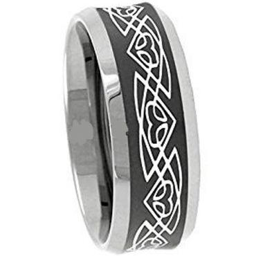 (Wholesale)Tungsten Carbide Celtic Beveled Edges Ring - 3111