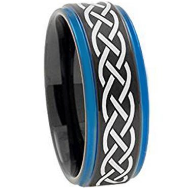 (Wholesale)Tungsten Carbide Black Blue Celtic Ring-3149