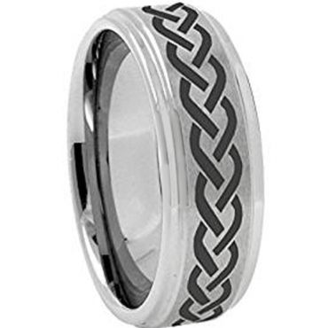 (Wholesale)Tungsten Carbide Celtic Step Edges Ring - 3199