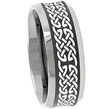 (Wholesale)Tungsten Carbide Celtic Beveled Edges Ring - 3233
