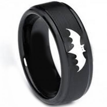 (Wholesale)Black Tungsten Carbide Batman Ring-TG326