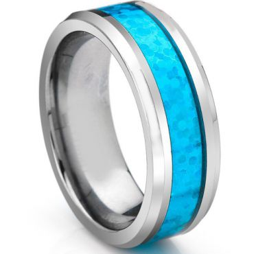 (Wholesale)Tungsten Carbide Imitate Opal Ring - TG3755