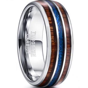 (Wholesale)Tungsten Carbide Wood Imitated Meteorite Ring-3343BB
