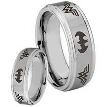 (Wholesale)Tungsten Carbide Batman Wonder Woman Ring-3375