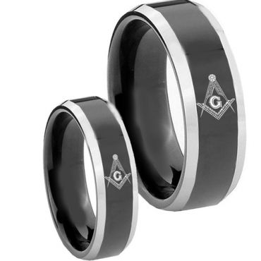 (Wholesale)Tungsten Carbide Beveled Edges Masonic Ring-3558