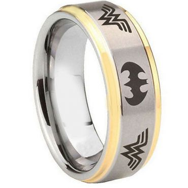 (Wholesale)Tungsten Carbide Batman & Wonder Woman Ring - TG4359