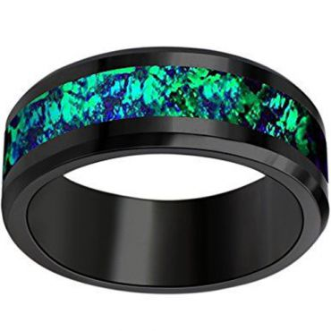 (Wholesale)Black Tungsten Carbide Imitate Opal Ring - TG3585