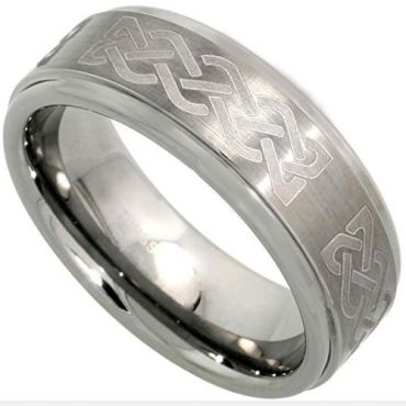 (Wholesale)Tungsten Carbide Celtic Step Edges Ring - TG3621
