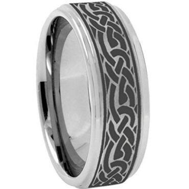 (Wholesale)Tungsten Carbide Celtic Step Edges Ring - TG3639
