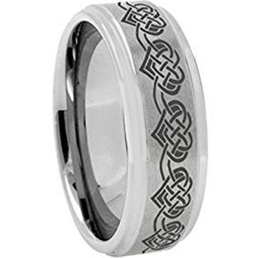(Wholesale)Tungsten Carbide Heart Step Edges Ring - 3641