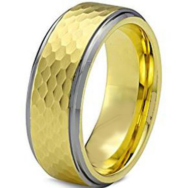 (Wholesale)Tungsten Carbide Hammered Ring - TG1955AA