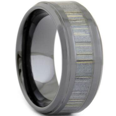 (Wholesale)Black Tungsten Carbide Wood Ring - TG3668