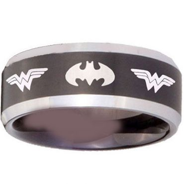 (Wholesale)Tungsten Carbide BatMan & Wonder Woman Ring-3683