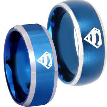 (Wholesale)Tungsten Carbide Beveled Edges SuperMan Ring-3811