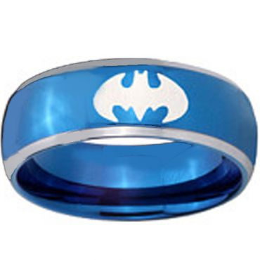 (Wholesale)Tungsten Carbide Batman Beveled Edges Ring - TG3812