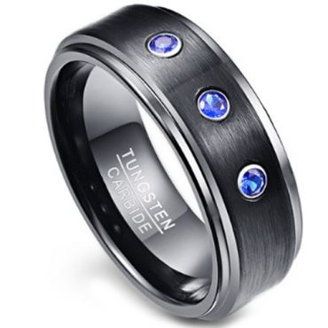 (Wholesale)Black Tungsten Carbide Three Stones Ring-2029