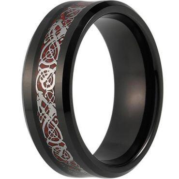 (Wholesale)Black Tungsten Carbide Dragon Ring - TG3857