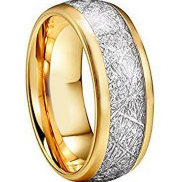 (Wholesale)Gold Tungsten Carbide Imitate Meteorite Ring - TG2593