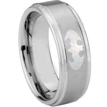 (Wholesale)Tungsten Carbide Batman Step Edges Ring - TG3890