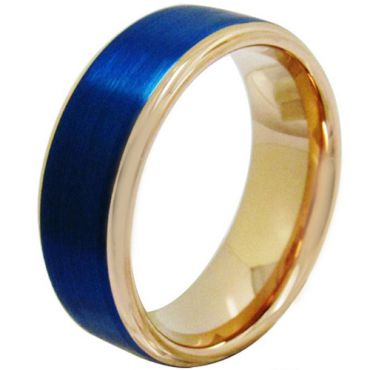 (Wholesale)Pink Blue Tungsten Carbide Step Edges Ring-3895
