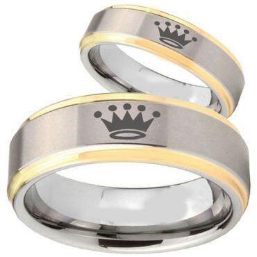(Wholesale)Tungsten Carbide Crown Step Edges Ring - TG3920