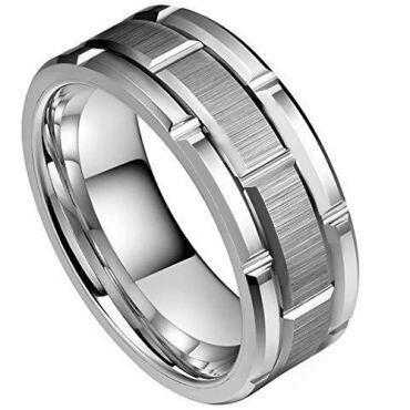 (Wholesale)Tungsten Carbide Brick Pattern Ring - TG3935