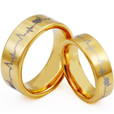 (Wholesale)Tungsten Carbide HeartBeat Pipe Cut Ring - TG3953