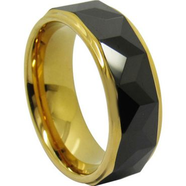 (Wholesale)Tungsten Carbide Black Gold Faceted Ring-TG4707