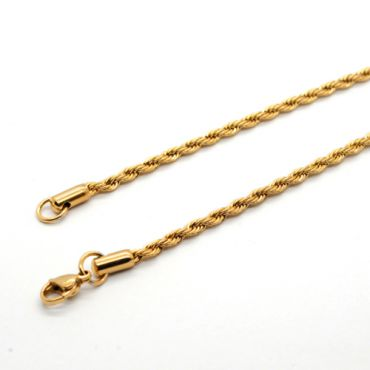 (Wholesale)316 Gold Stainless Steel 3.0mm Chain Necklace - SJ50