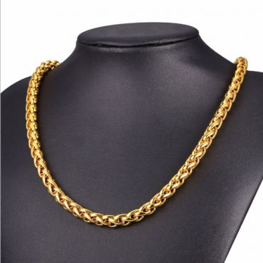 (Wholesale)316 Gold Stainless Steel 3.0mm Chain Necklace - SJ67