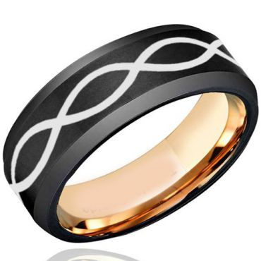 (Wholesale)Tungsten Carbide Black Rose Infinity Ring - TG4012