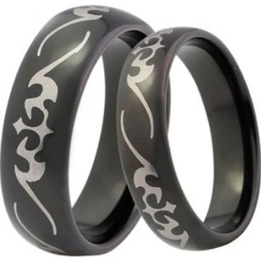 (Wholesale)Black Tungsten Carbide Celtic Dome Ring-4041