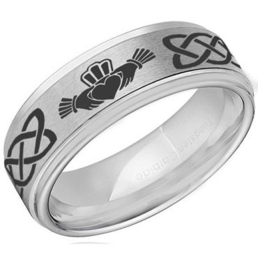 (Wholesale)Tungsten Carbide Mo Anam Cara Celtic Ring-4055
