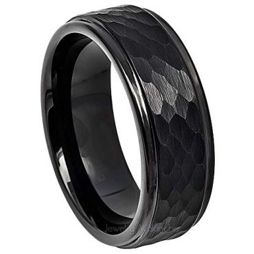 (Wholesale)Black Tungsten Carbide Hammered Ring-TG4730