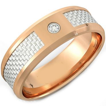 (Wholesale)Tungsten Carbide Ring With Carbon Fiber & CZ-TG4087