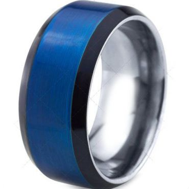 (Wholesale)Tungsten Carbide Black Blue Beveled Edges Ring-4095