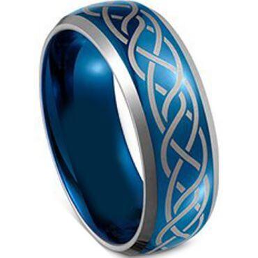 (Wholesale)Tungsten Carbide Celtic Beveled Edges Ring - TG4100