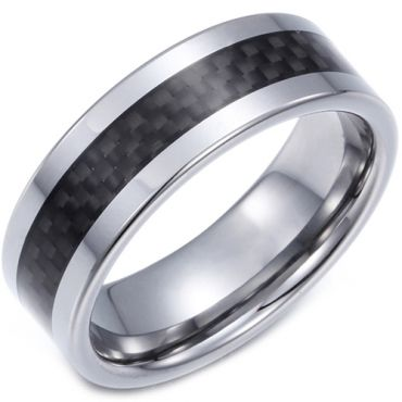(Wholesale)Tungsten Carbide Ring With Carbon Fiber - TG4123